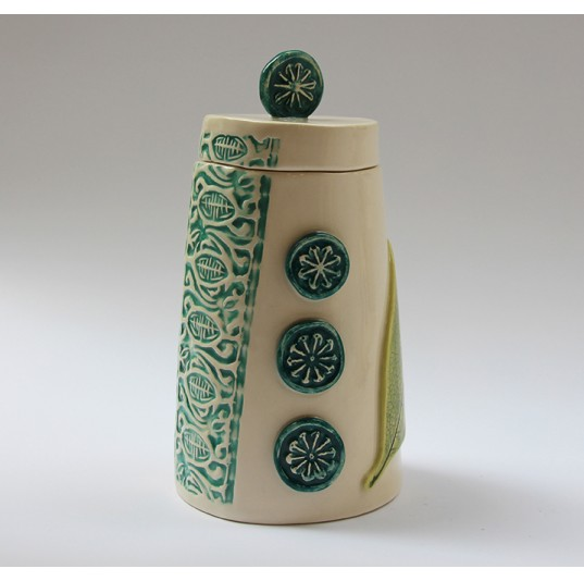 Lidded Vessel with Leaves