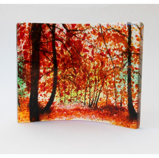 Curved Glass Panel - Red Maples