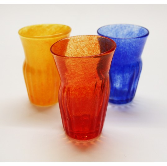 Red Glass Ribbed Tumbler