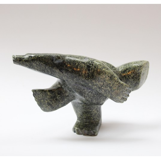 Dancing Bear 1253826 - Inuit Serpentine Stone Carving