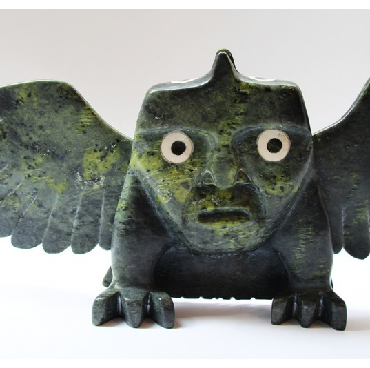 Inuit Serpentine Stone Carving - Owl Spirit Face