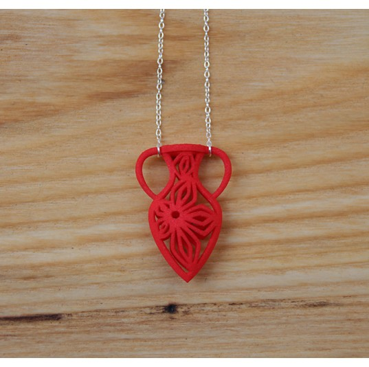 3D Printed Red Nylon Vase Necklace