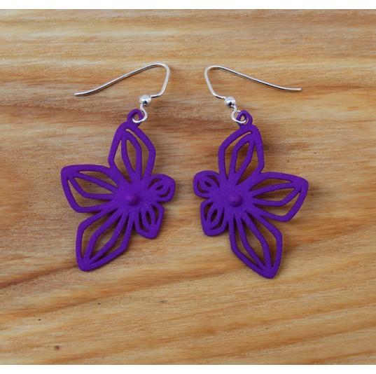 3D Printed Purple Nylon Flower Earrings