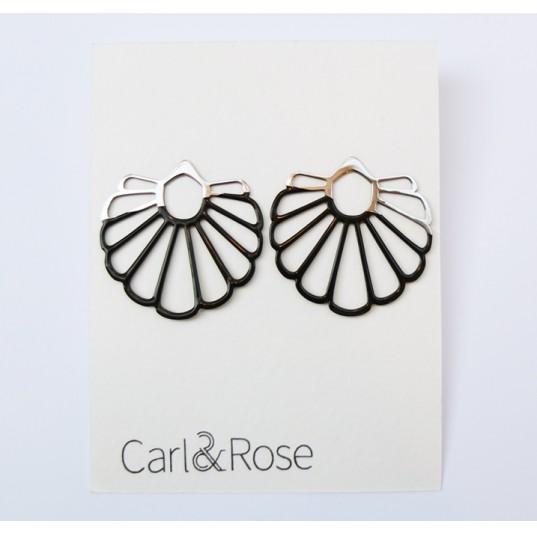 Fan Earrings - Black and Stainless Steel