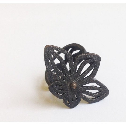 3D Printed Black Floral Ring