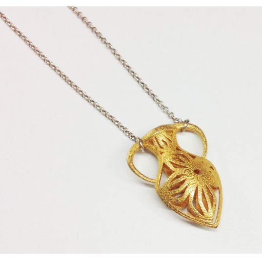 3D Printed Polished Brass Vase Necklace