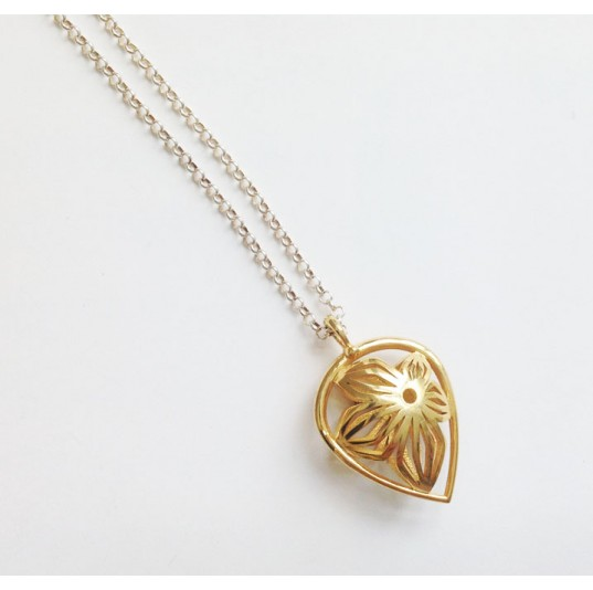 3D Printed Gold Plated Flower Pendant
