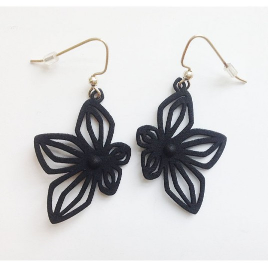3D Printed Black Nylon Flower Earrings