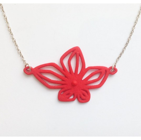 3D PrintedRed Nylon Flower Necklace
