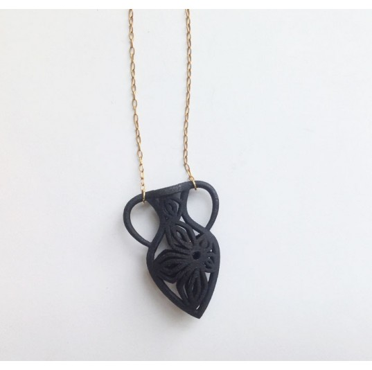 3D Printed Purple Black Vase Necklace