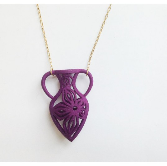 3D Printed Purple Nylon Vase Necklace