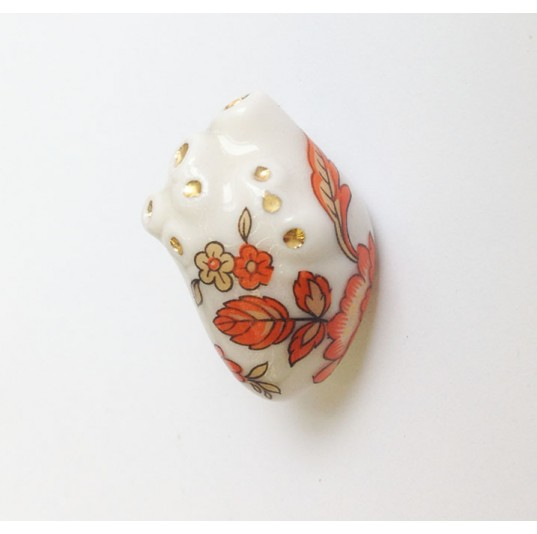 Anatomic Floral Ceramic Heart Pin