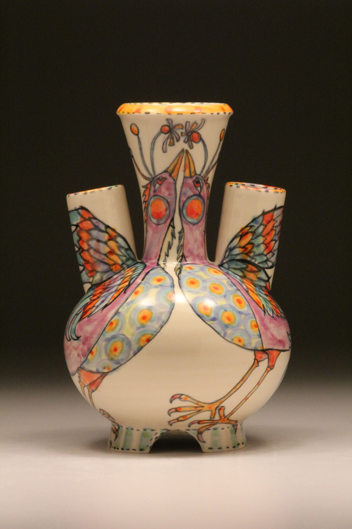 Courting Birds a tulip vase